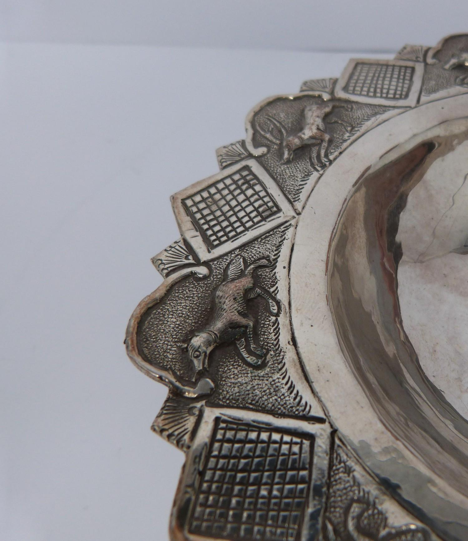 A white metal oriental handled dish, coin, silver fish pendant and white metal thai buckle, basket - Image 7 of 9