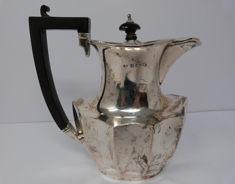 A 3 piece silver service; coffee pot, water jug and large tea pot, coffee pots William Devenport, - Image 6 of 11