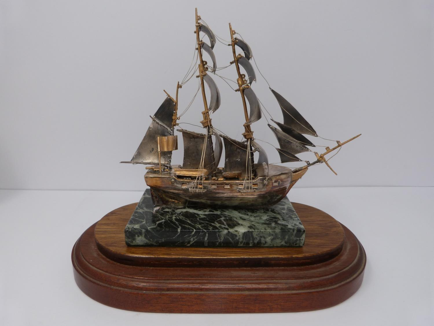 A silver model of the HMS Beagle 1831 in presentation case, 574/1000, mounted on alabaster base, A - Image 4 of 6