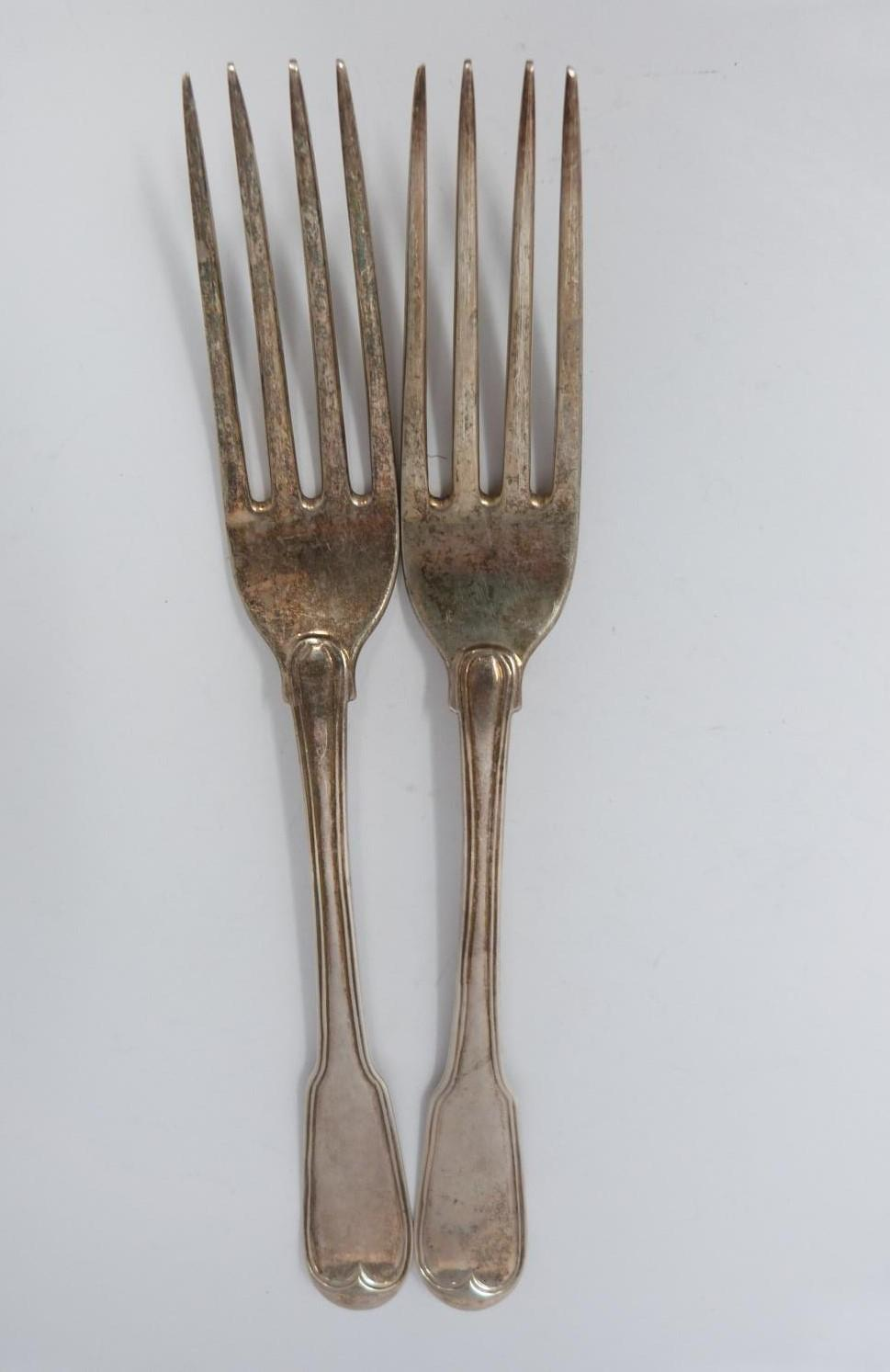 A collection of silver and white metal cutlery, including two Georgian serving spoons, 1791, ch - Image 7 of 8