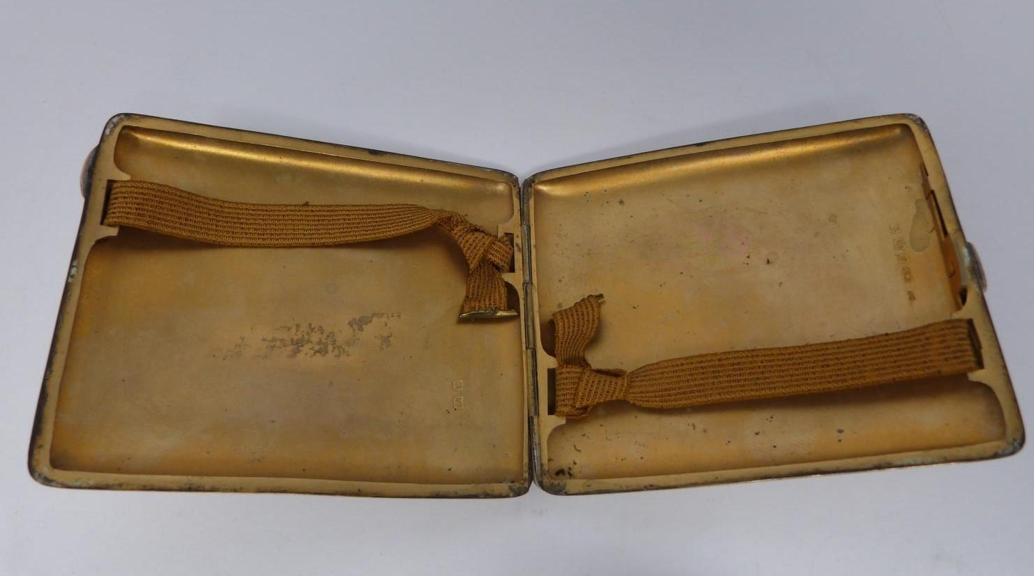 Three monogrammed silver cigarette cases, large case, birmingham 1920, Charles S Green & Co Ltd. - Image 6 of 10