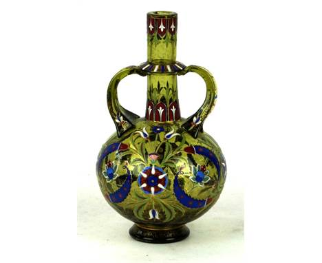 A Fine quality enamelled twin handled glass vase in the manner of Lobmeyr Decorated with a central cartouche sourounded by fl