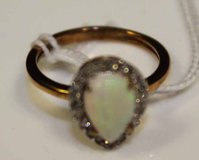 opal and cluster ring the pear shaped opal