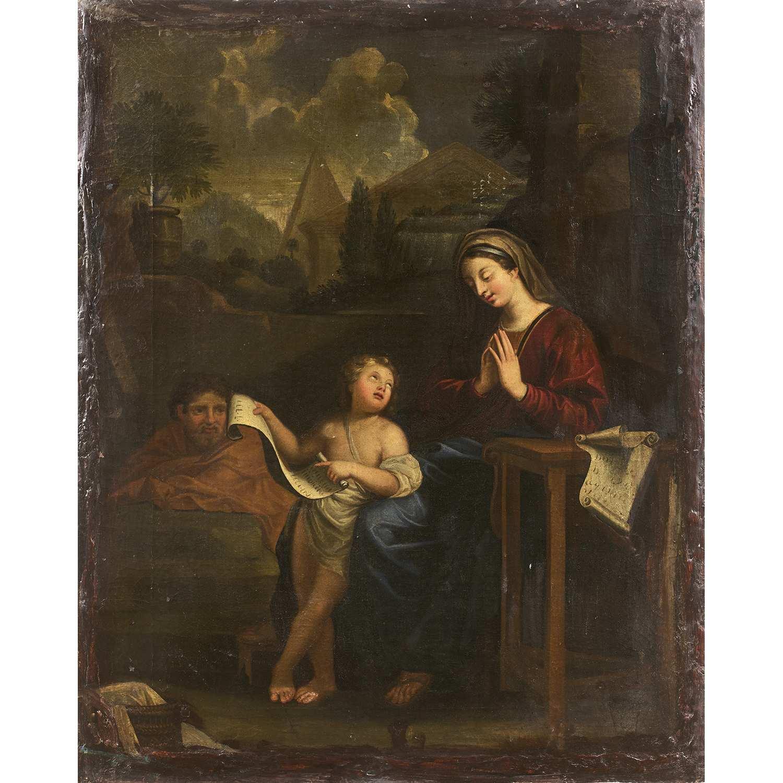 Los 16 - École FRANÇAISE du XVIIIe siècle, suiveur de Charles LE BRUN La sainte Famille Toile marouflée sur