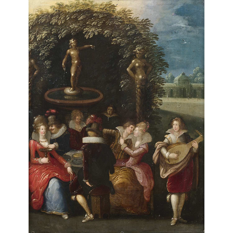 Los 26 - Louis de CAULLERY (Cambrai, vers 1565-Anvers, 1622) Scène galante dans un parc Cuivre parqueté