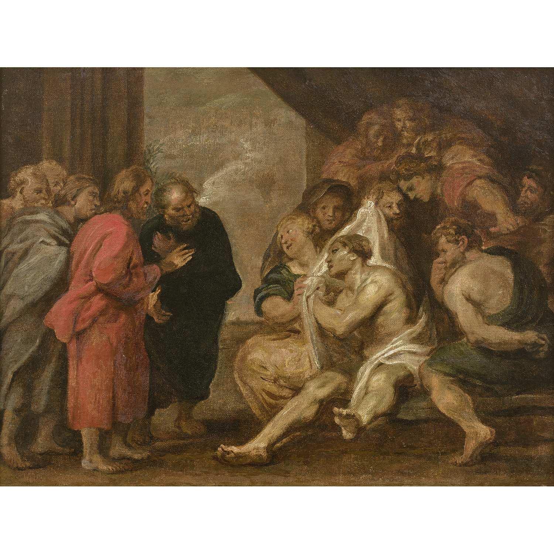 Los 28 - École FLAMANDE du XVIIe siècle, suiveur de Peter-Paul RUBENS La résurrection de Lazare Toile