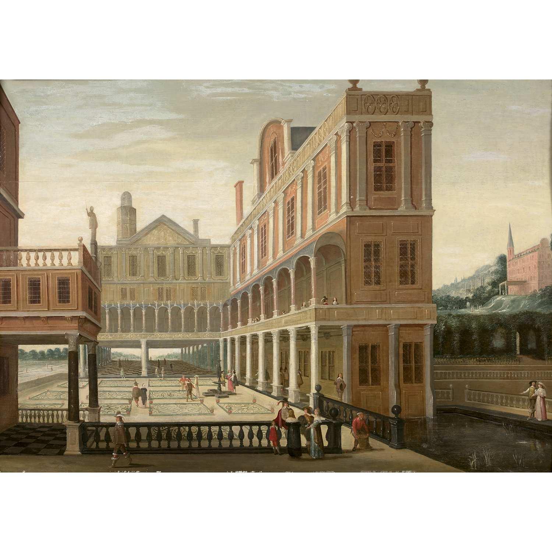 Los 37 - École HOLLANDAISE vers 1640, suiveur de Dirck Van DELEN Palais animé Panneau de chêne, trois