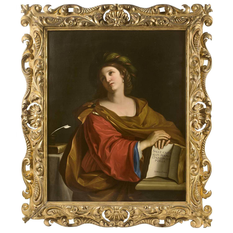 Los 6 - ƒ École FLORENTINE du XIXe siècle, suiveur du GUERCHIN LA Sybille Samia Sur sa toile d'origine 116,5