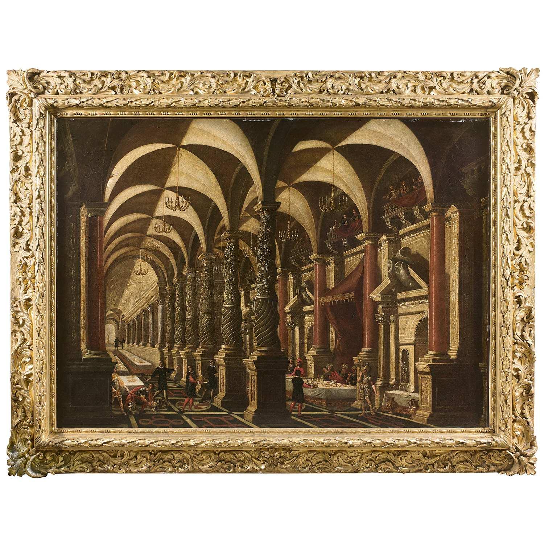 Los 3 - Attribué à François de NOME dit MONSU DESIDERIO (actif à Naples au XVIIe siècle) Le festin de