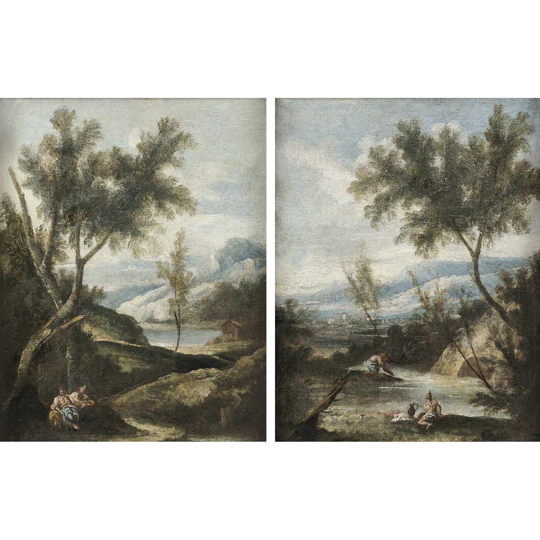 Los 18 - École VÉNITIENNE du milieu du XVIIIe siècle, entourage de Giuseppe ZAIS Paysages à la rivière animés