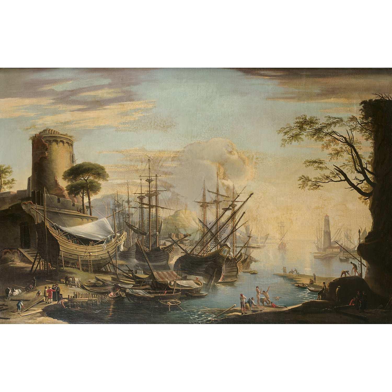 Los 20 - École ROMAINE du XIXe siècle, suiveur de Paul BRILL chantier naval Sur sa toile d'origine