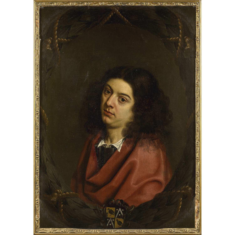 Los 40 - Attribué à Peter FRANCHOYS (1606-1654) Portrait d'homme aux armes de la famille Estrix de Terbeeck