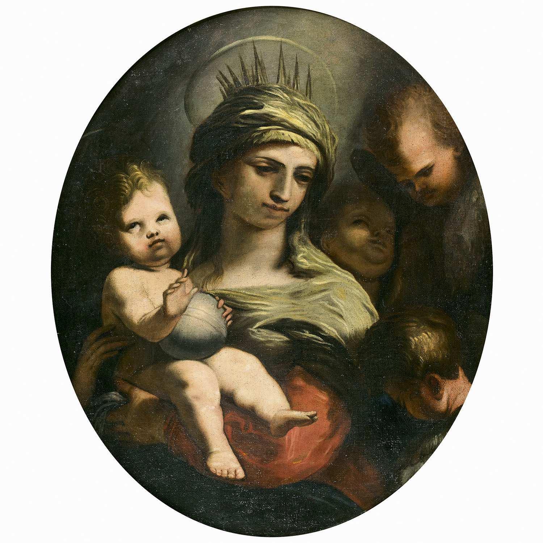 Los 8 - Attribué à Alessandro GHERARDINI (1655-1726) La Vierge à l'Enfant et les anges Toile ovale