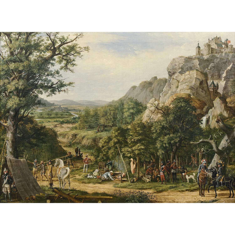 Los 51 - École SUISSE vers 1820 Le campement Sur sa toile d'origine Restaurations anciennes 47 x 67 cm