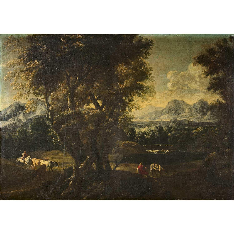 Los 23 - École GÉNOISE vers 1700, suiveur de Bartolomeo TORREGIANI Paysage aux bergers et leurs troupeaux