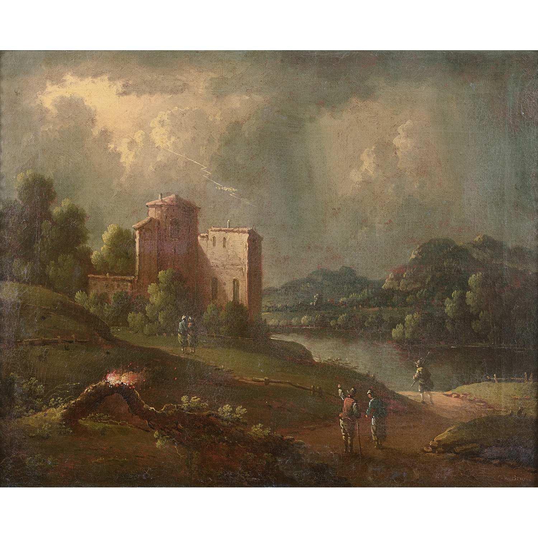 Los 52 - Attribué à Willem Van BEMMEL (1630-1708) Paysage au ciel zébré d'un éclair Toile Trace de