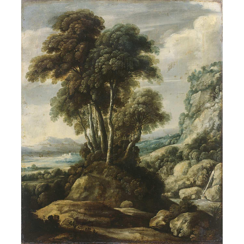 Los 46 - Attribué à Jacques FOUQUIÈRES (Anvers, 1580-1590?-Paris, 1659) Arbres dans un paysage Panneau de