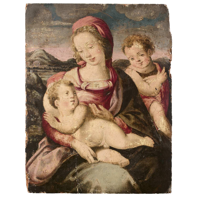 Los 1 - École FLORENTINE du XVIe siècle Vierge à l'Enfant avec saint Jean-Baptiste Panneau de peuplier,