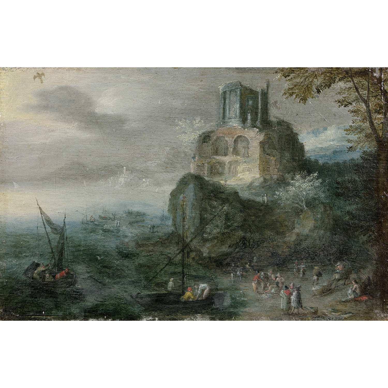 Los 38 - ÉCOLE FLAMANDE VERS 1620, ENTOURAGE DE JAN BRUEGHEL LE VIEUX ESTUAIRE AVEC LE TEMPLE DE LA SIBYLLE