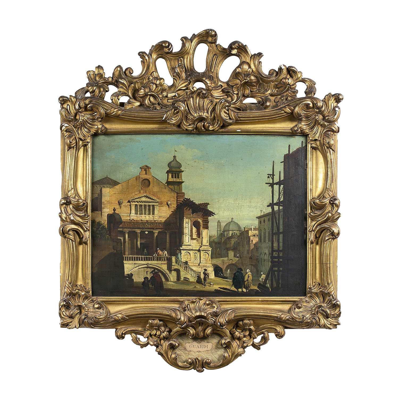Los 19 - Giovanni MIGLIARA (1785-1837) Caprice vénitien Panneau Etiquette de l'encadreur Tardif au dos