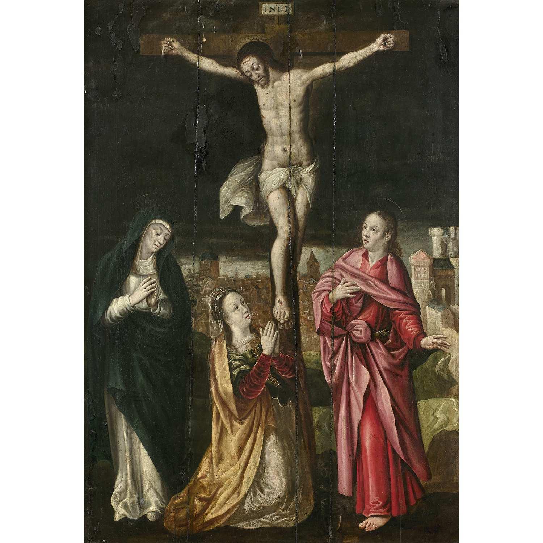 Los 25 - École FLAMANDE vers 1580, suiveur de Michiel COXCIE La crucifixion entre saint Jean, la Vierge et