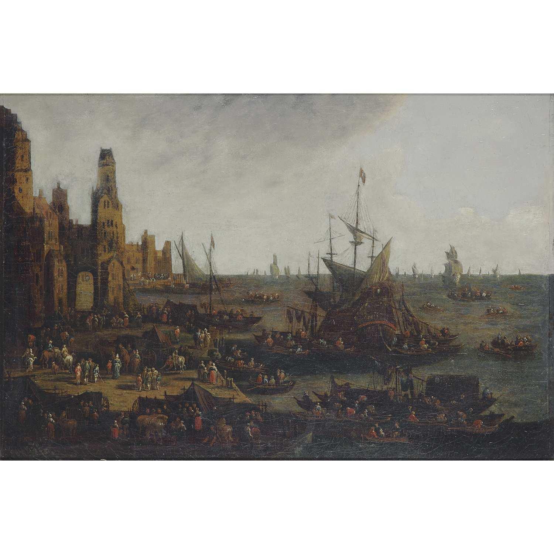 Los 53 - Pieter III Casteels (Anvers, 1684-1749) Port animé de personnages Toile Restaurations anciennes 28 x