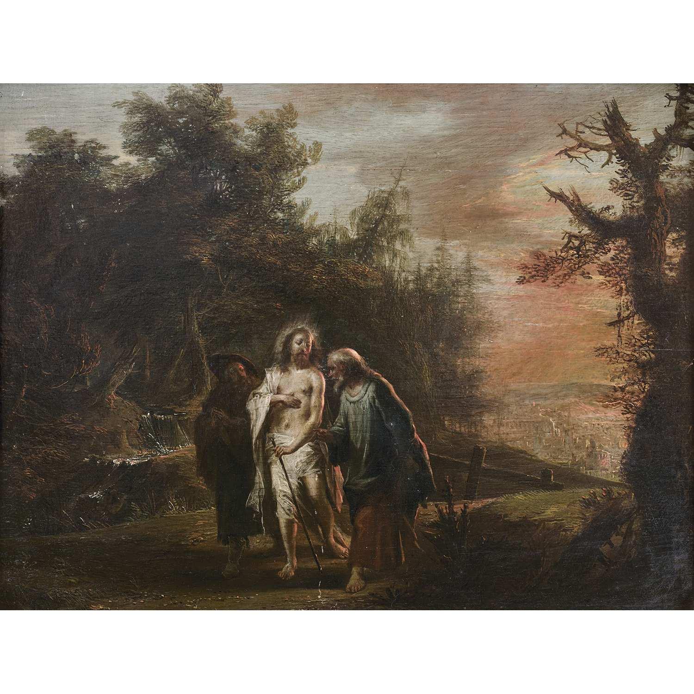 Los 54 - École ALLEMANDE du XVIIIe siècle Le Christ et les Pèlerins d'Emmaüs Panneau de chêne, une planche,
