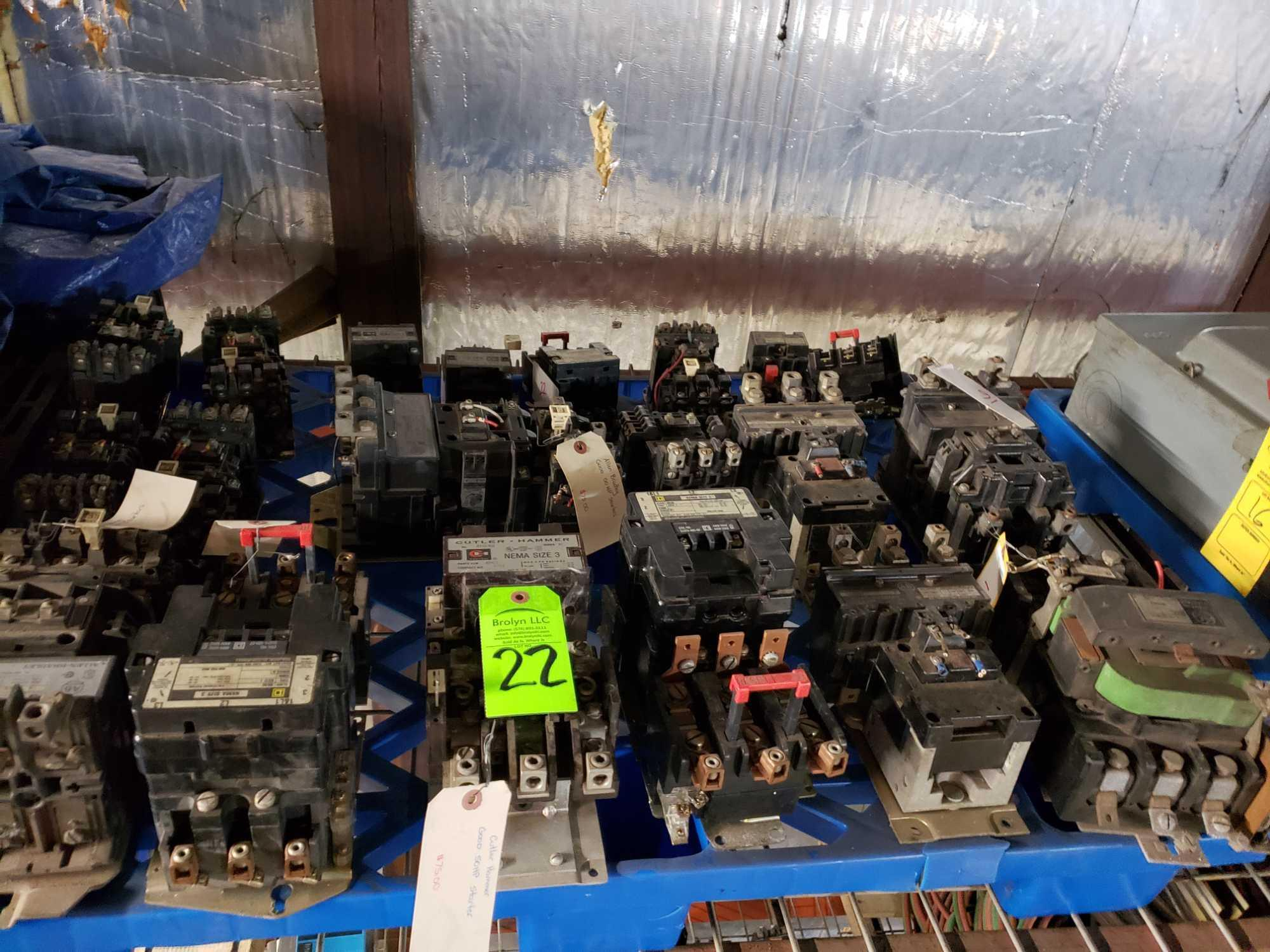 Lot 22 - Large lot of assorted Contactors up to size 3 from Square D, Cutler Hammer and Allen Bradley