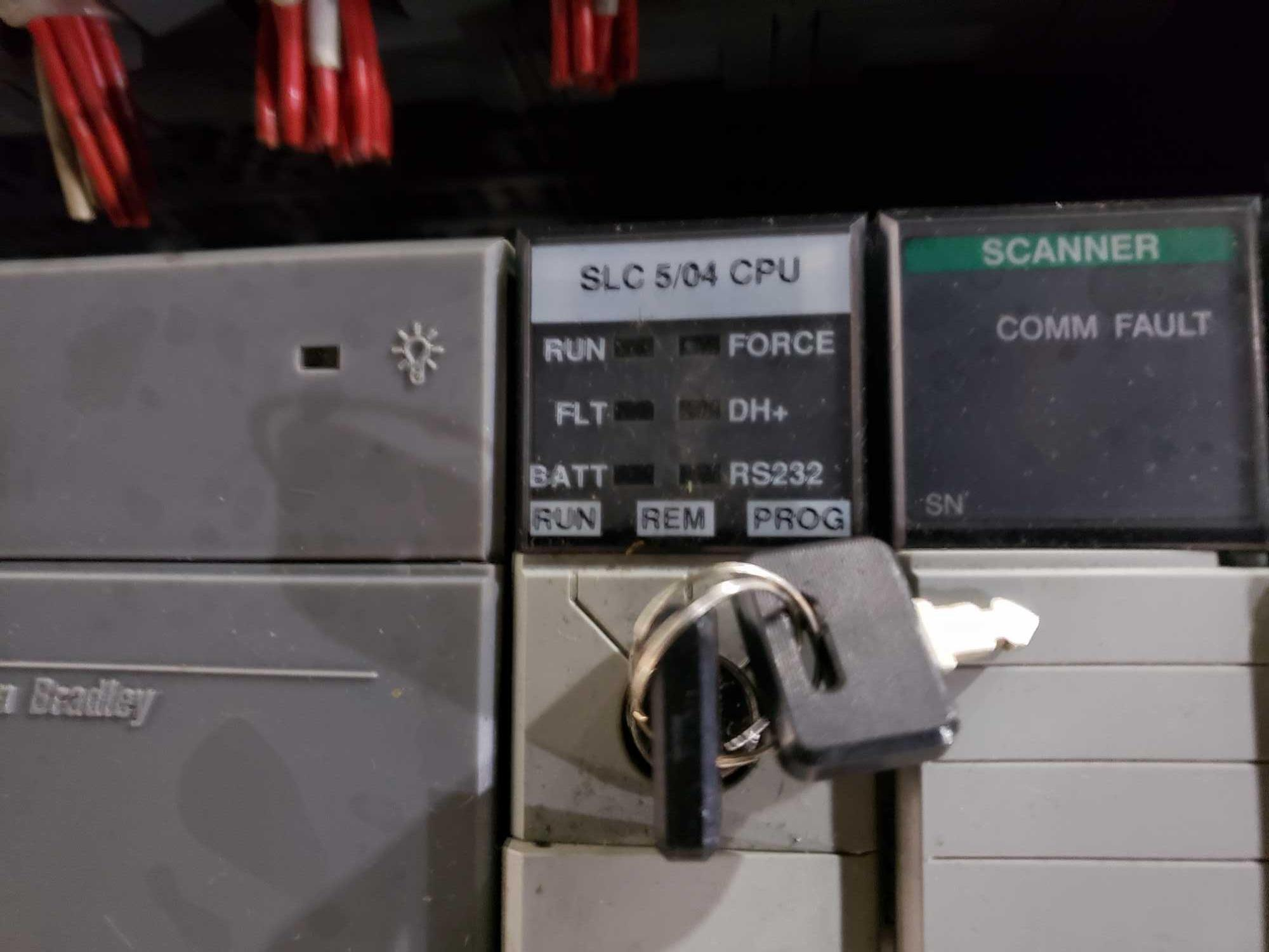 Lot 39 - Allen Bradley SLC500 rack includes SLC5/04 CPU, scanners, inputs and outputs