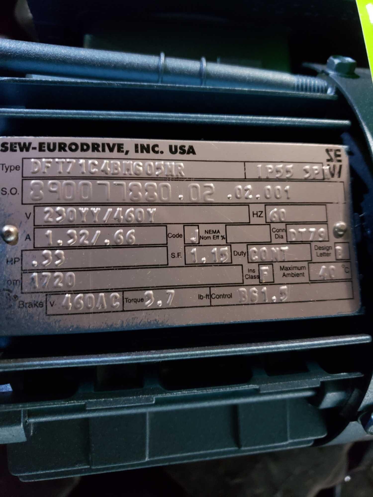 Lot 34 - Sew Eurodrive gearmotor assembly. Models RF37DT71C4BM605HR and DFT71C4BM605HR. New with minor wear.