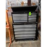 "Husky top and bottom rolling tool box. Overall dimensions 40"" wide x 58"" tall. Shows limited use"