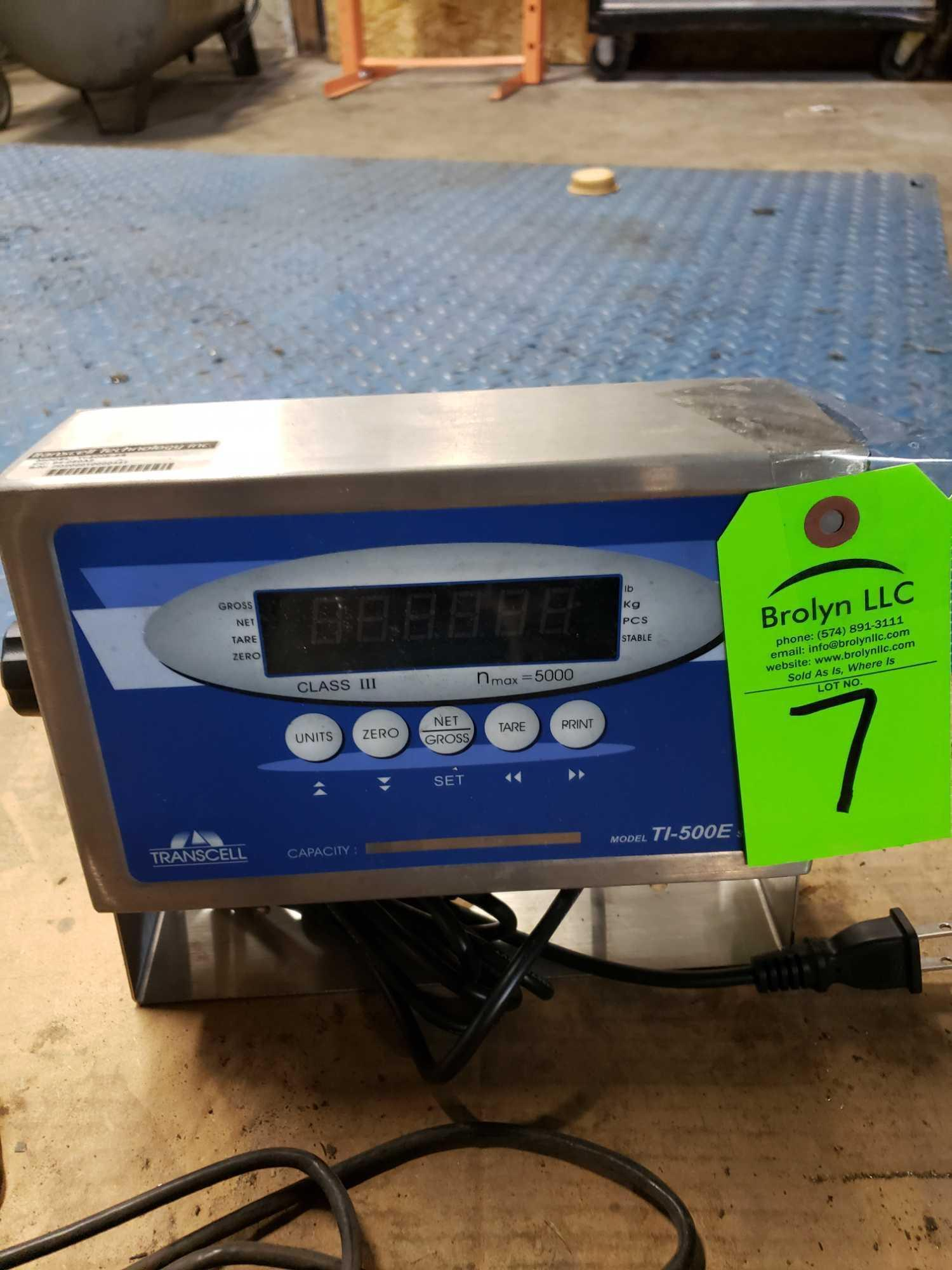 "Lot 7 - Platform freight scale with Transcell TI-500E  digital readout. 72""x72"" steel deck platform. Appears"
