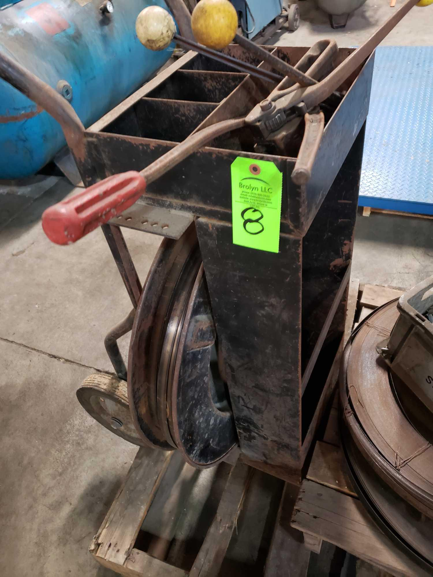 Lot 8 - Steel banding cart with assorted tooling and extra consumables