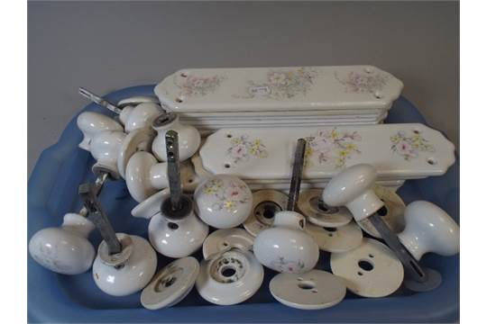 & A Collection of Ceramic Door Finger Plates and Matching Door Knobs.
