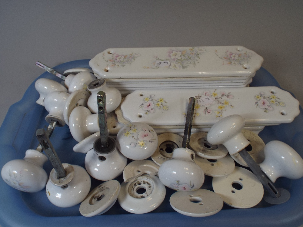 Lot 226 - A Collection of Ceramic Door Finger Plates and Matching Door Knobs. & A Collection of Ceramic Door Finger Plates and Matching Door Knobs.
