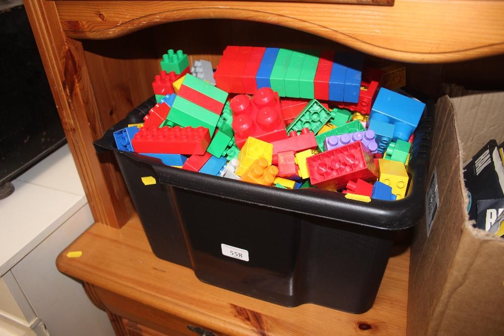 A box of Mega Blocks