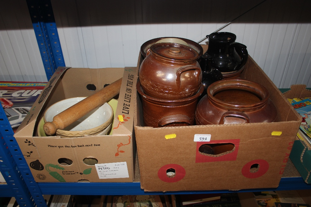 Two boxes containing mostly salt glazed jars, pots