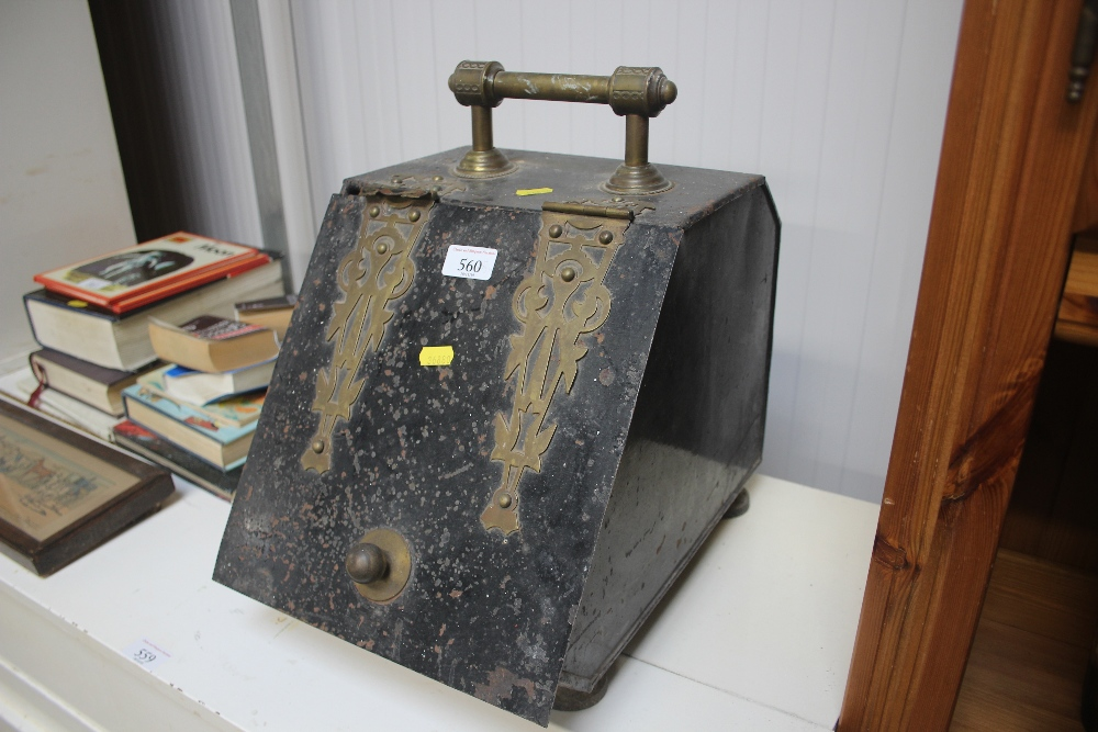 A metal and brass coal scuttle AF