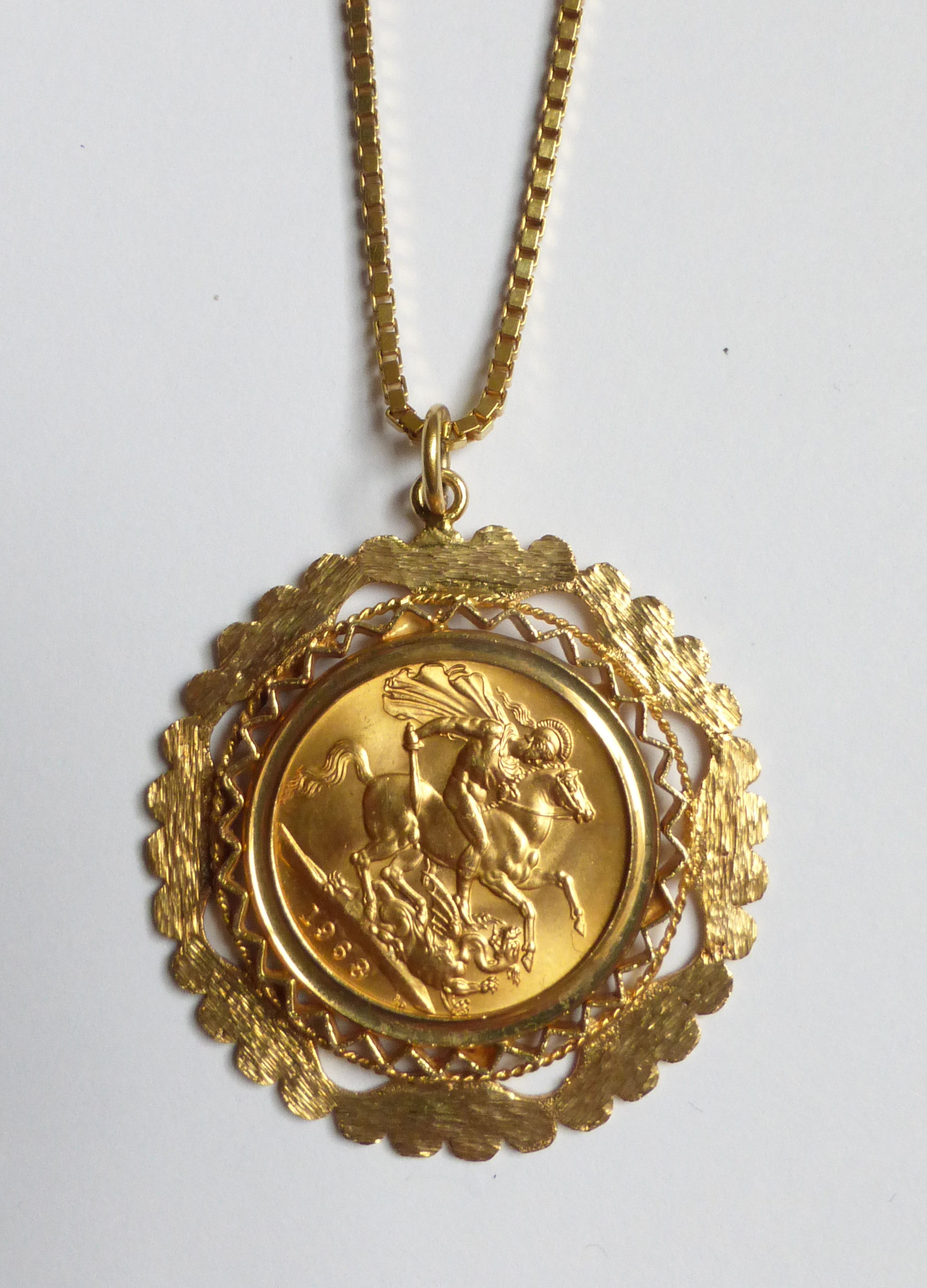 A 1968 gold sovereign in 9ct gold pendant mount and on a 9ct lot 274 a 1968 gold sovereign in 9ct gold pendant mount and on a aloadofball Images