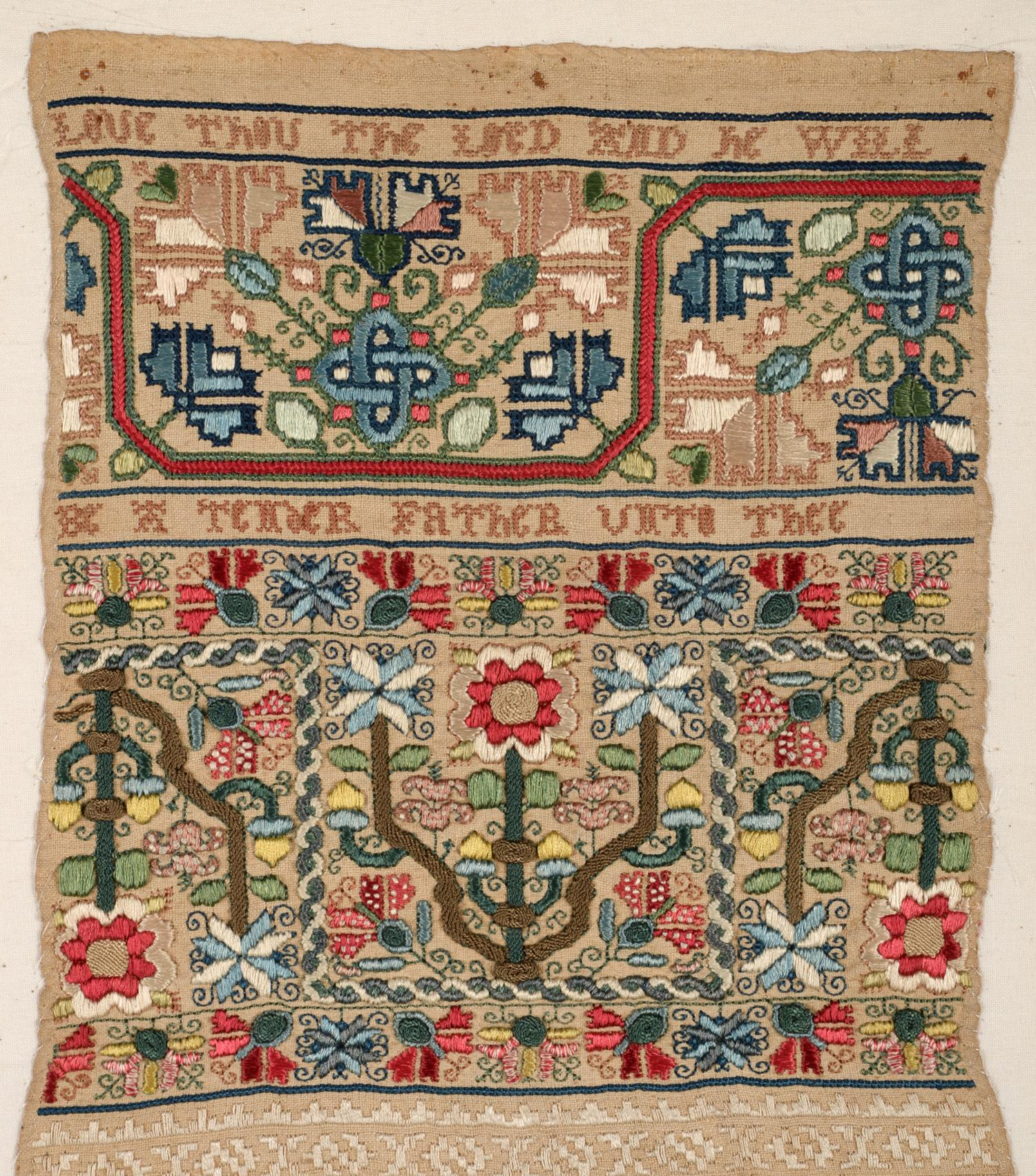 Lot 2210 - An Important Late 17th Century Quaker Band Sampler of Exceptional Quality, worked in coloured silk