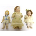 Lot 2000 - Possibly a Kestner Googly Bisque Doll, with brown painted side glancing eyes, one piece body,