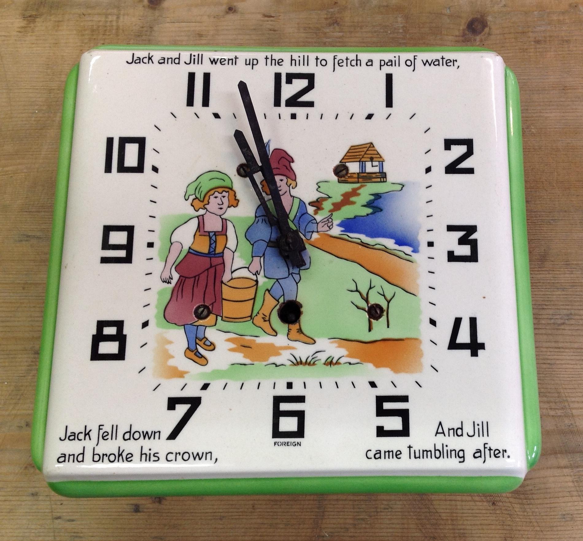 Lot 1 - Jack and Jill pottery clock c1930