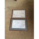 Two ink drawings by James Howe 1780 - 1836 horses galloping one signed HOW