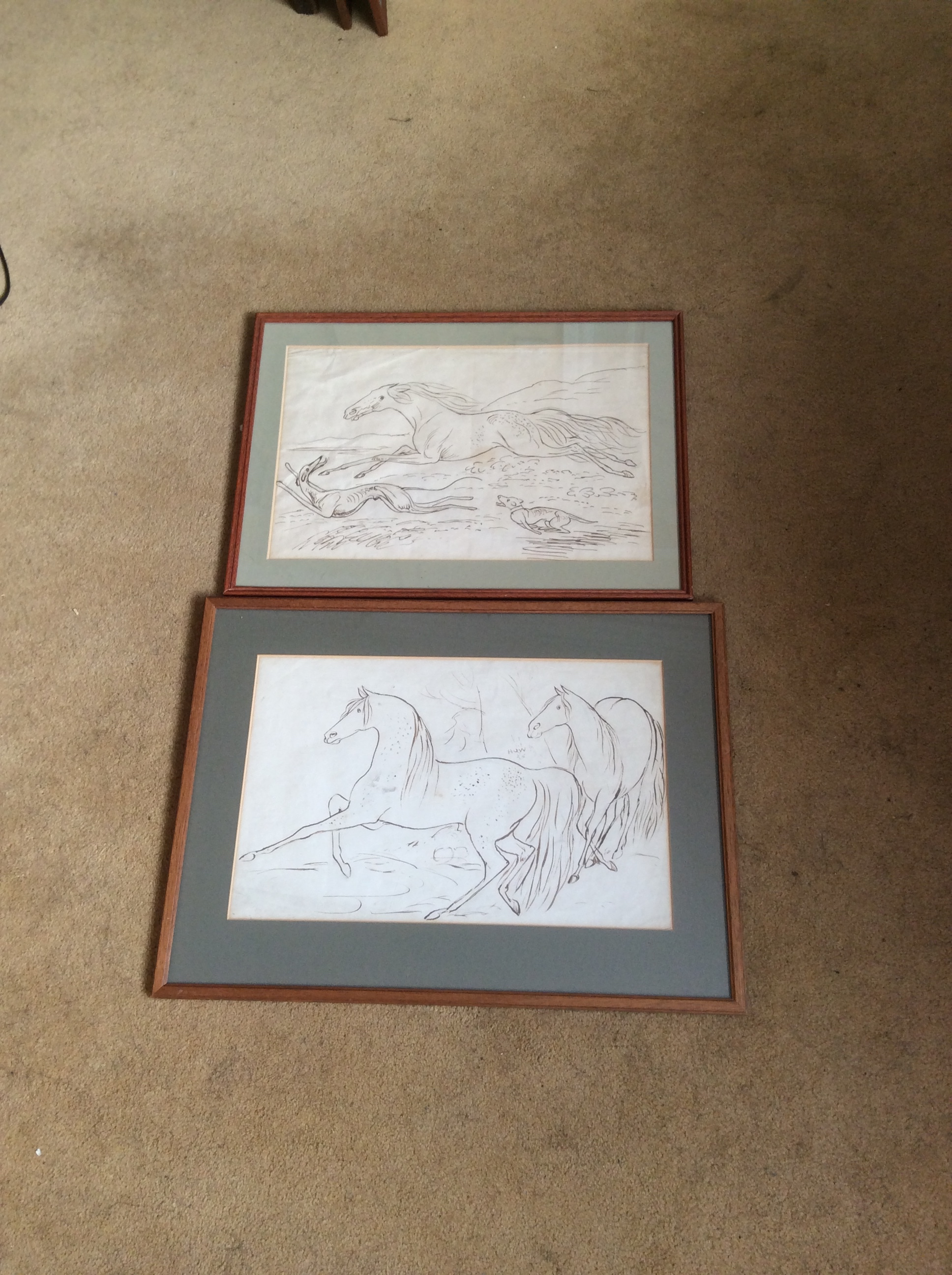 Lot 460 - Two ink drawings by James Howe 1780 - 1836 horses galloping one signed HOW