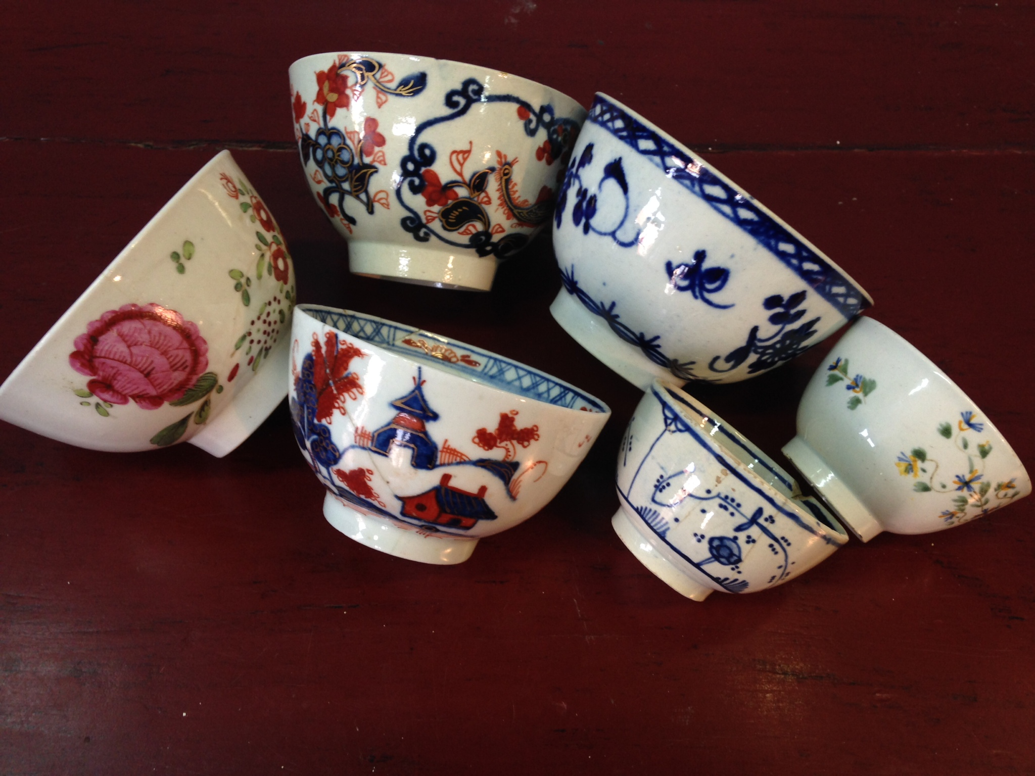 Lot 8 - Six teabowls, 3 Liverpool, 1 Lowestoft and another