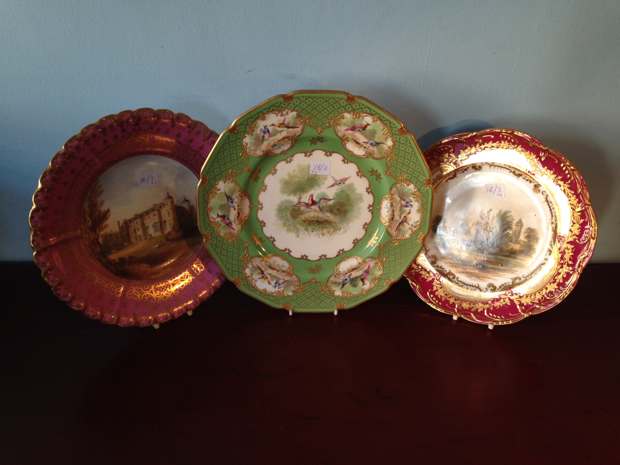 Lot 13 - Three early 20th c cabinet plates inc. Doulton and Copeland
