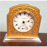 Enamelled silver miniature mantle clock by Chaumet Paris marked 935