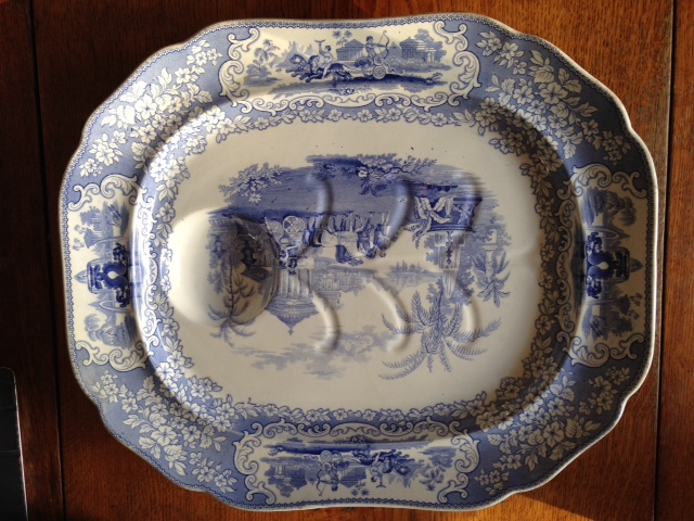 Lot 51 - Well and tree blue and white platter by J & M P Bell of Glagow c1860