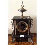Black marble mantle clock with gilt mounts