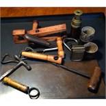 Miscellany inc. pocket telescope, pocket inkwell, corkscrews, nutcracker, copper cheque printing